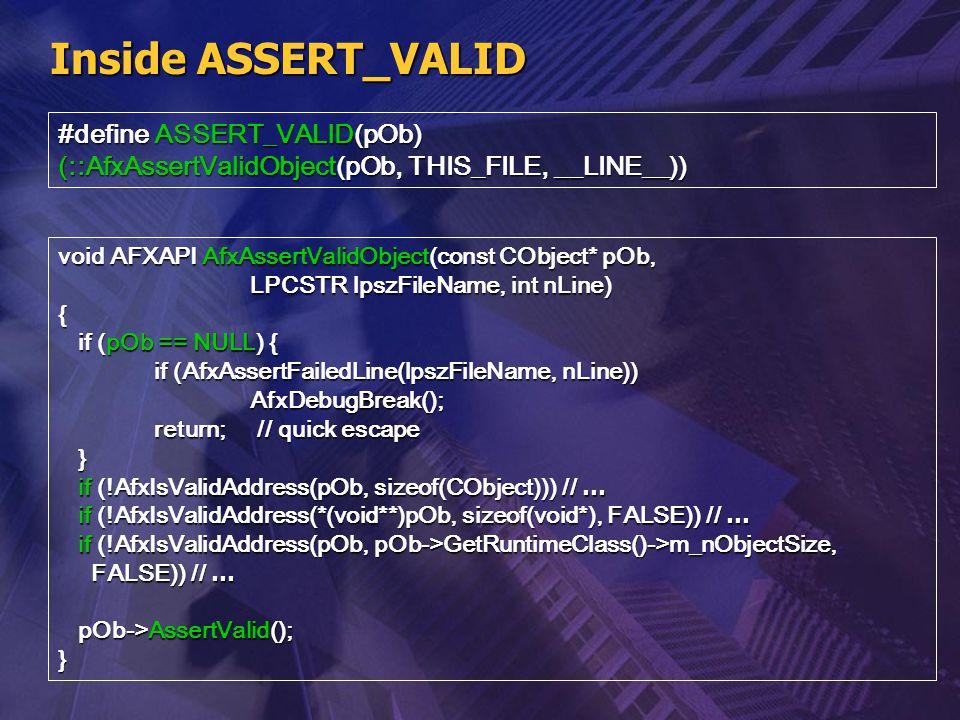 Inside ASSERT_VALID #define ASSERT_VALID(pOb)