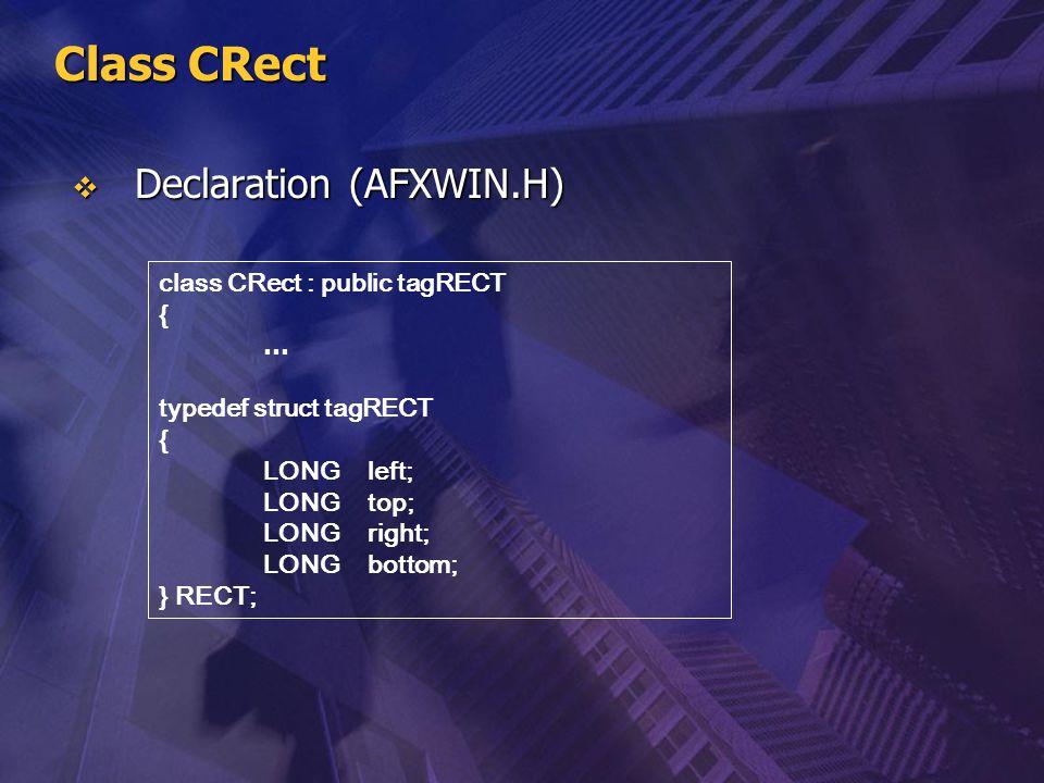 Class CRect Declaration (AFXWIN.H) class CRect : public tagRECT { …