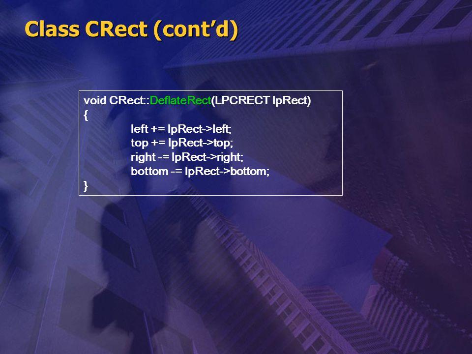 Class CRect (cont'd) void CRect::DeflateRect(LPCRECT lpRect) {