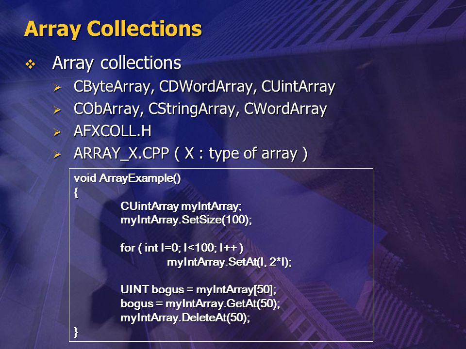 Array Collections Array collections