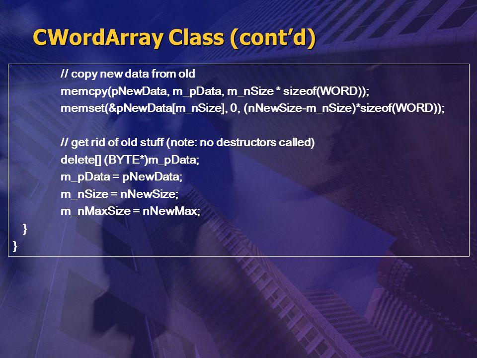 CWordArray Class (cont'd)