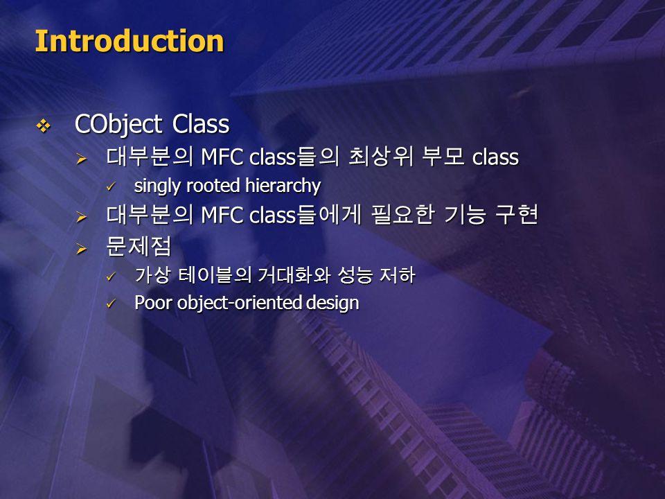 Introduction CObject Class 대부분의 MFC class들의 최상위 부모 class