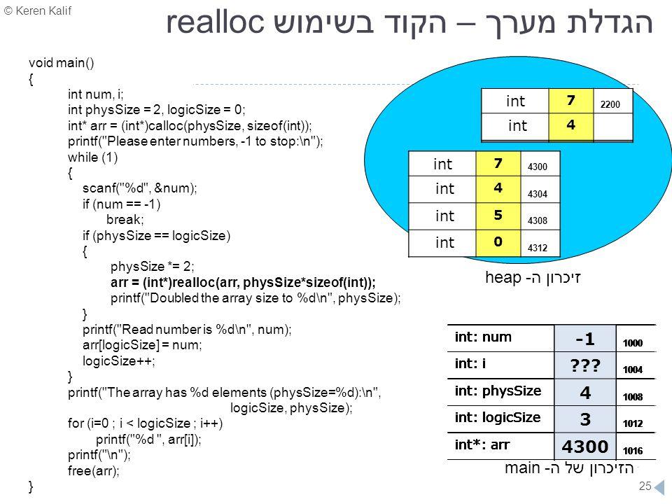 הגדלת מערך – הקוד בשימוש realloc