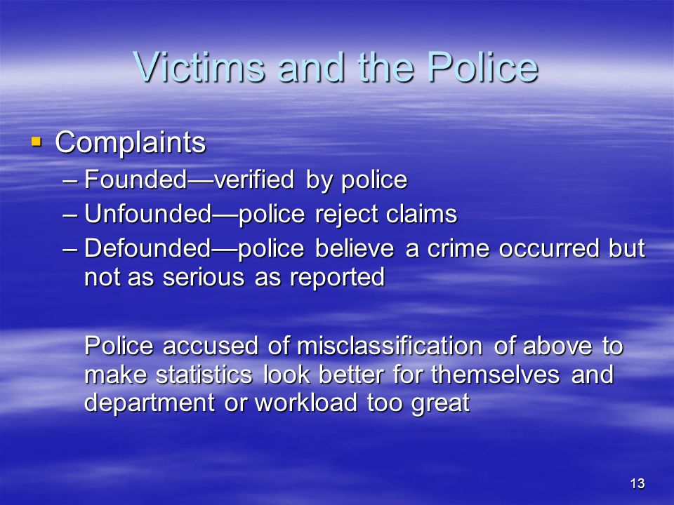Victims and the Police Complaints Founded—verified by police