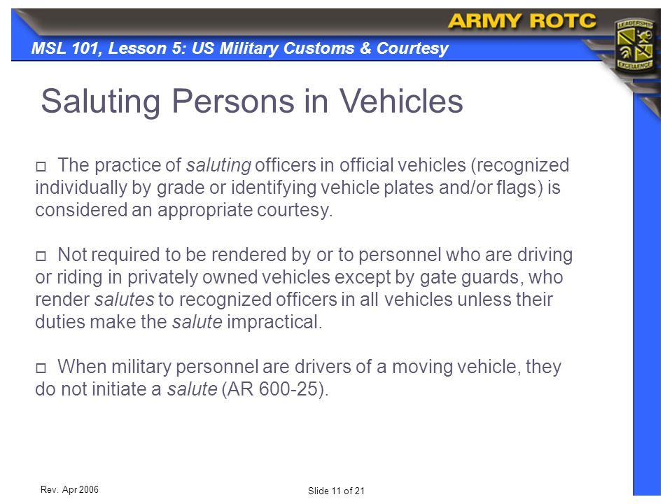 Saluting Persons in Vehicles