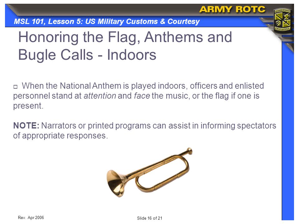 Honoring the Flag, Anthems and Bugle Calls - Indoors