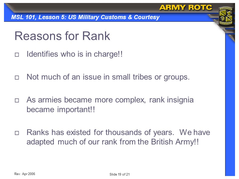 Reasons for Rank Identifies who is in charge!!