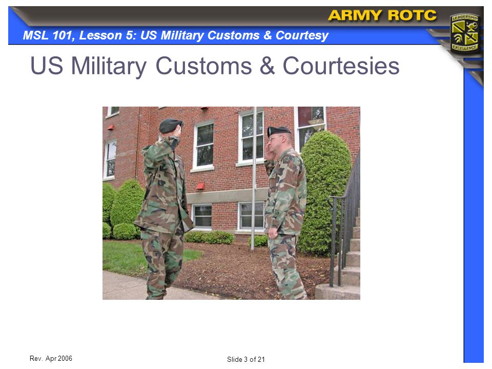US Military Customs & Courtesies