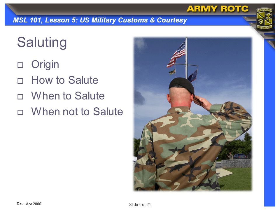 Saluting Origin How to Salute When to Salute When not to Salute