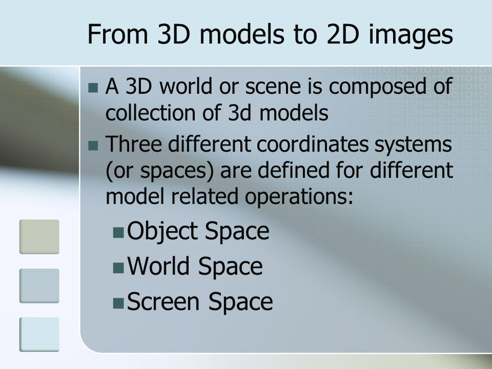 From 3D models to 2D images
