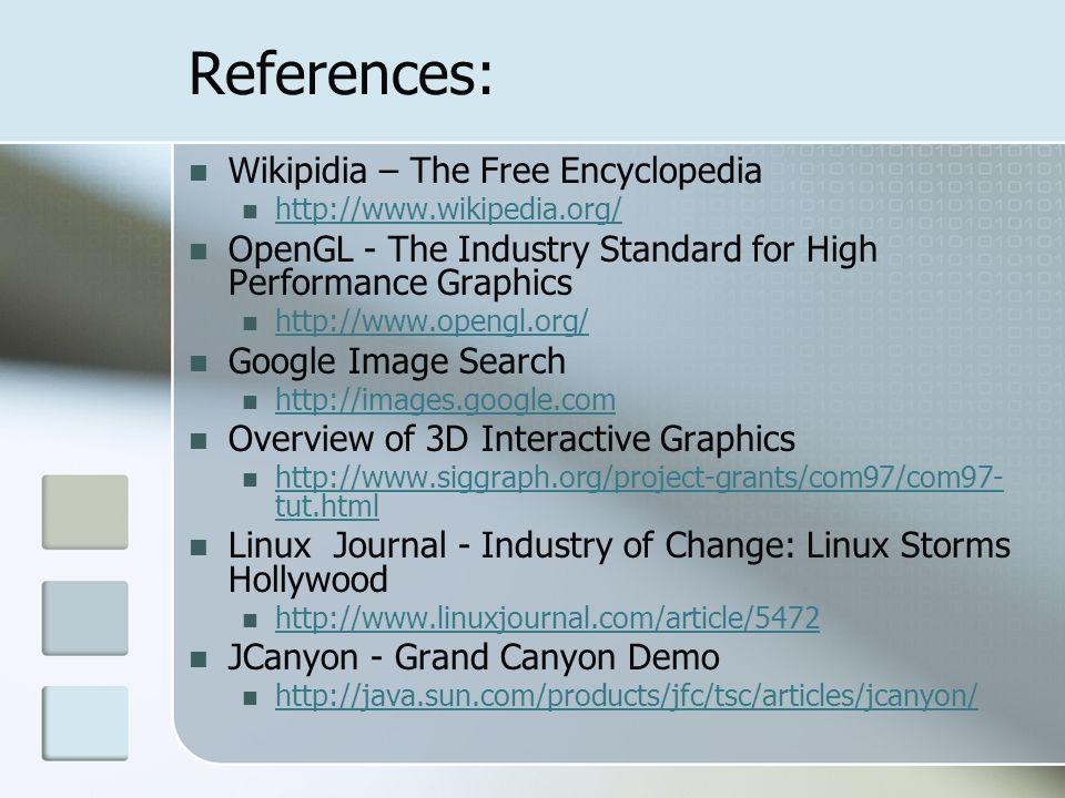References: Wikipidia – The Free Encyclopedia