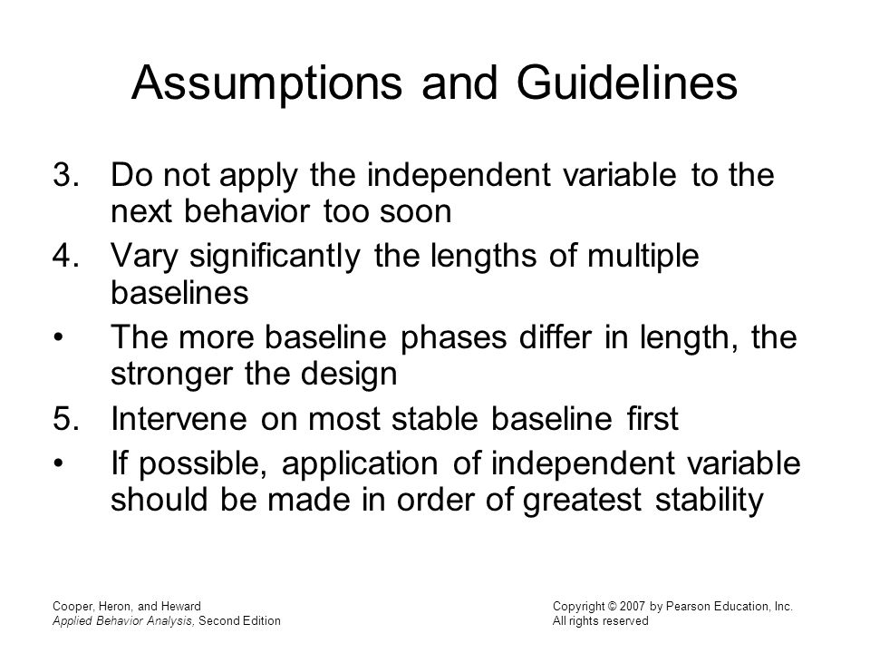 Assumptions and Guidelines