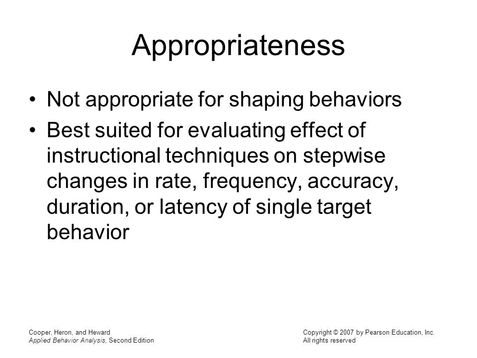 Appropriateness Not appropriate for shaping behaviors