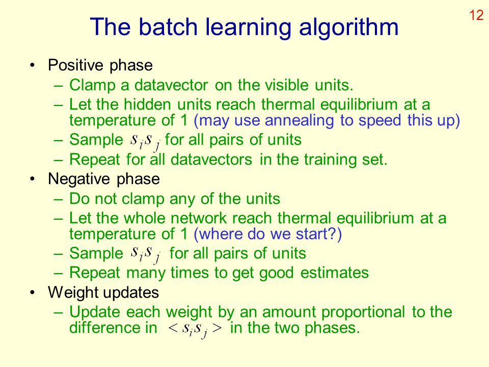 The batch learning algorithm
