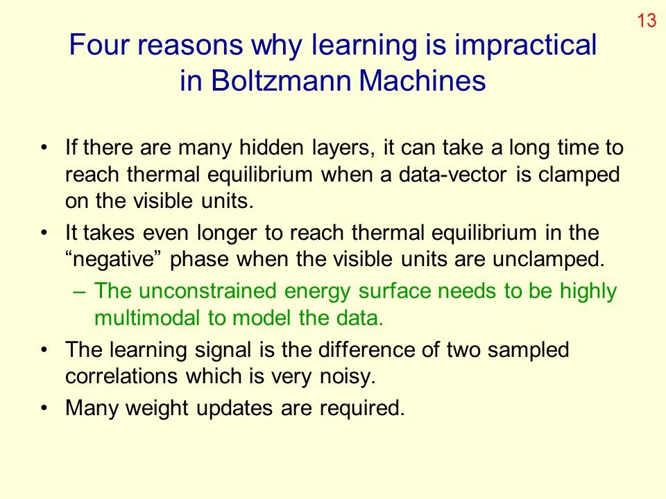 Four reasons why learning is impractical in Boltzmann Machines