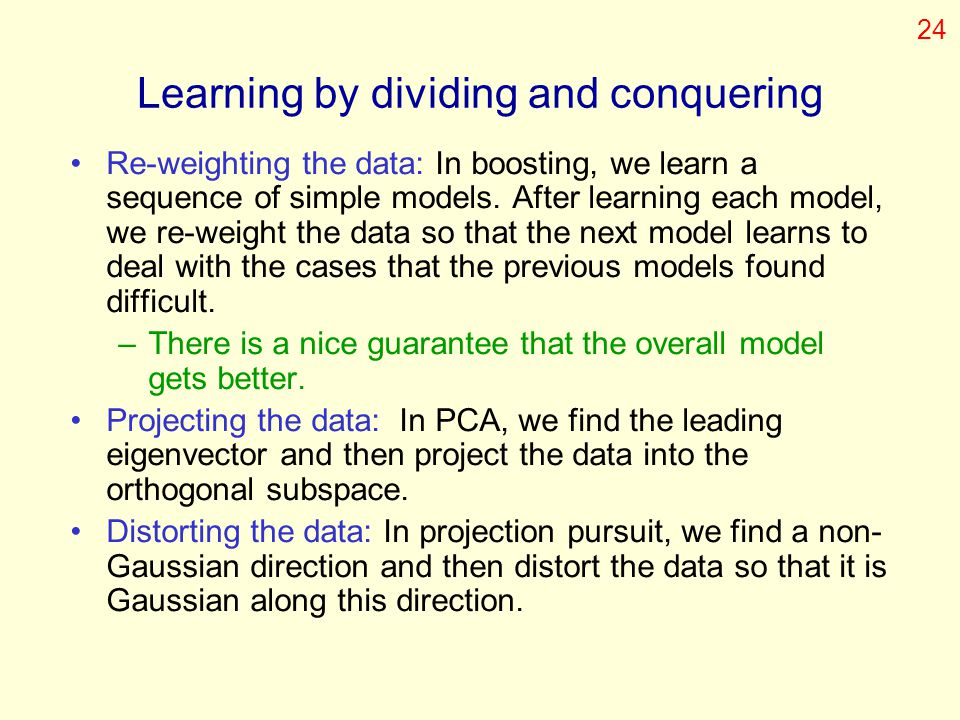 Learning by dividing and conquering