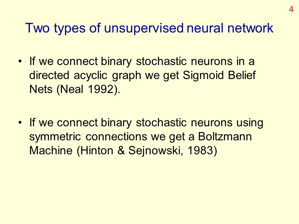 Two types of unsupervised neural network