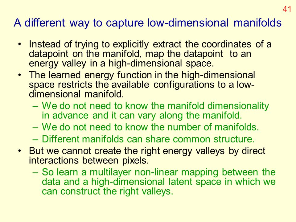 A different way to capture low-dimensional manifolds