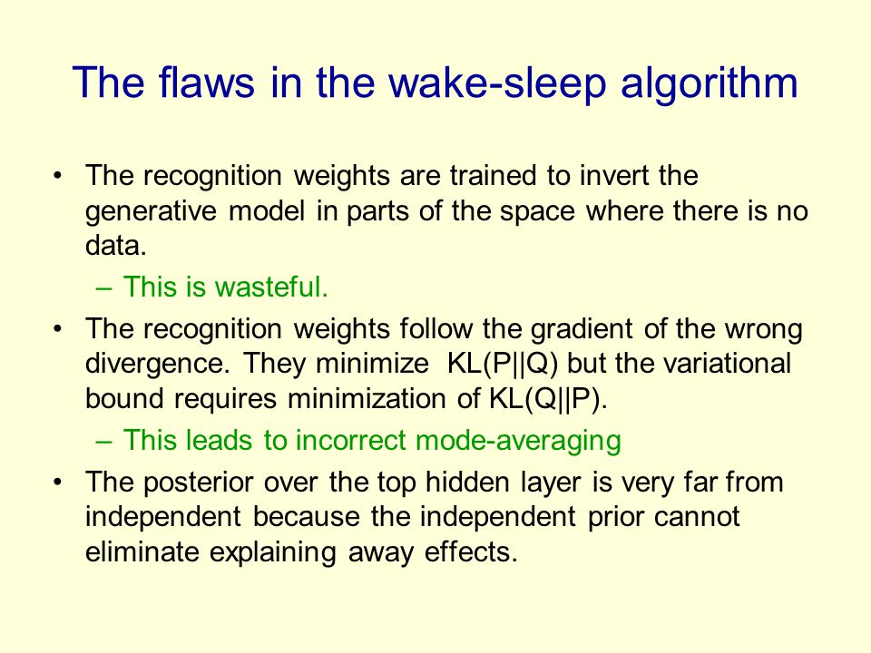 The flaws in the wake-sleep algorithm