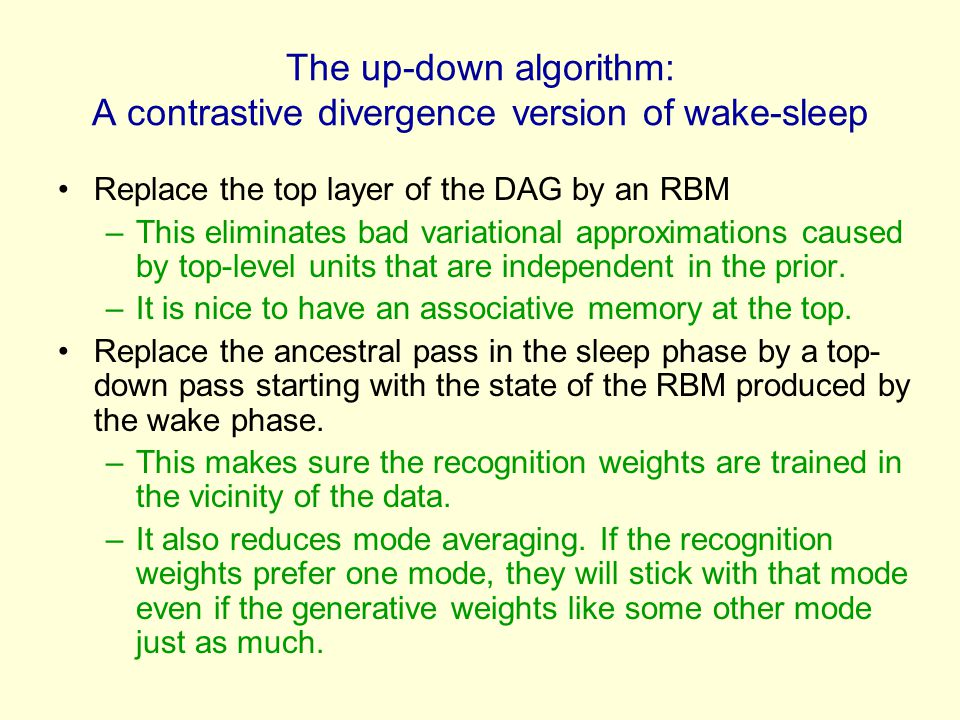 The up-down algorithm: A contrastive divergence version of wake-sleep