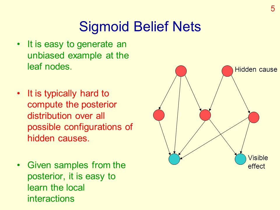5 Sigmoid Belief Nets. It is easy to generate an unbiased example at the leaf nodes.