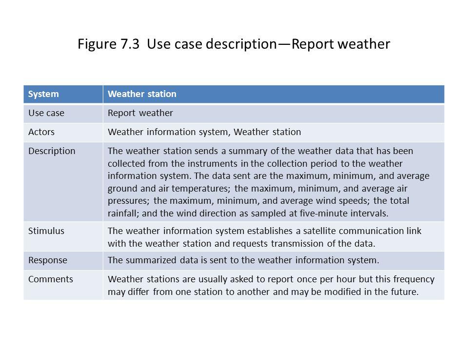 Figure 7.3 Use case description—Report weather
