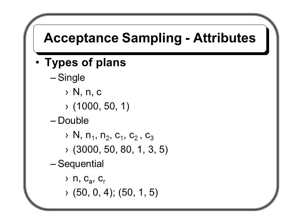 Acceptance Sampling - Attributes