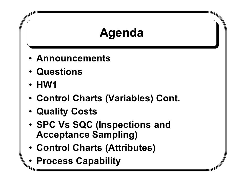 Agenda Announcements Questions HW1 Control Charts (Variables) Cont.