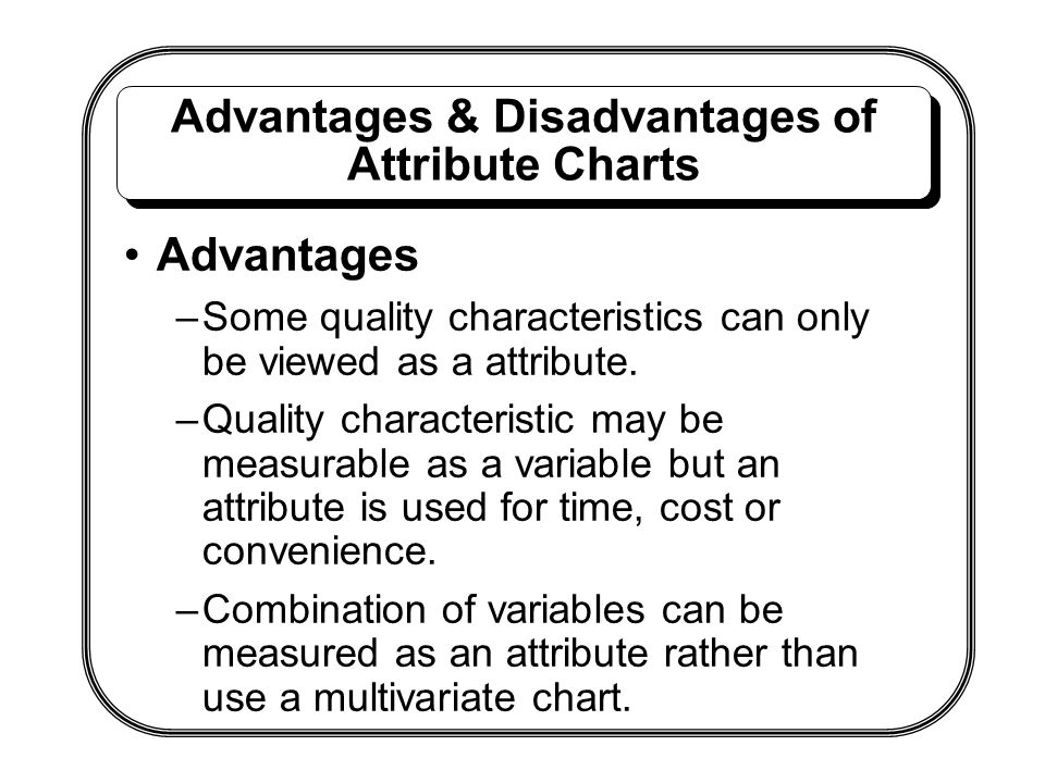 Advantages & Disadvantages of Attribute Charts