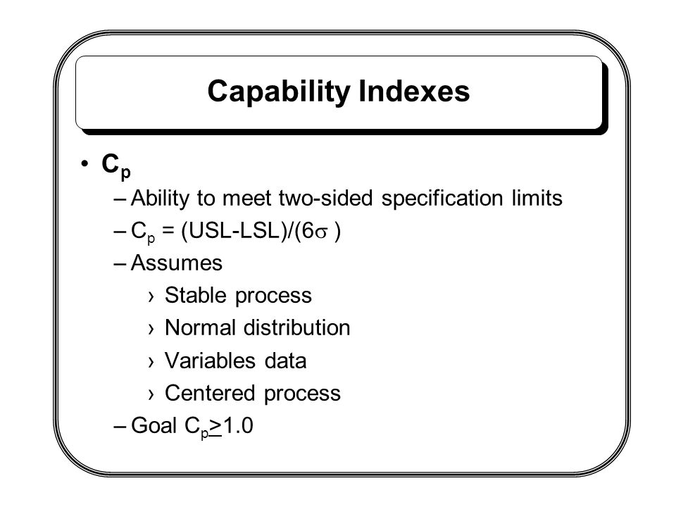 Capability Indexes Cp Ability to meet two-sided specification limits