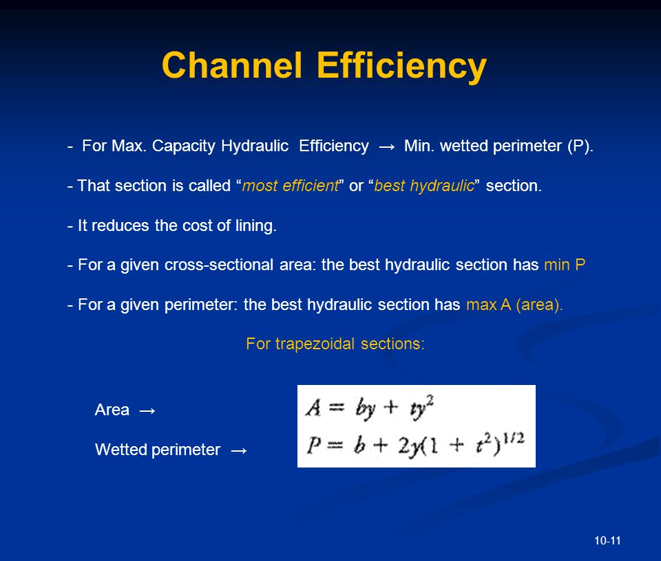 Channel Efficiency Determine the relation btw b & y to minimize P for a fixed cross-sectional area.
