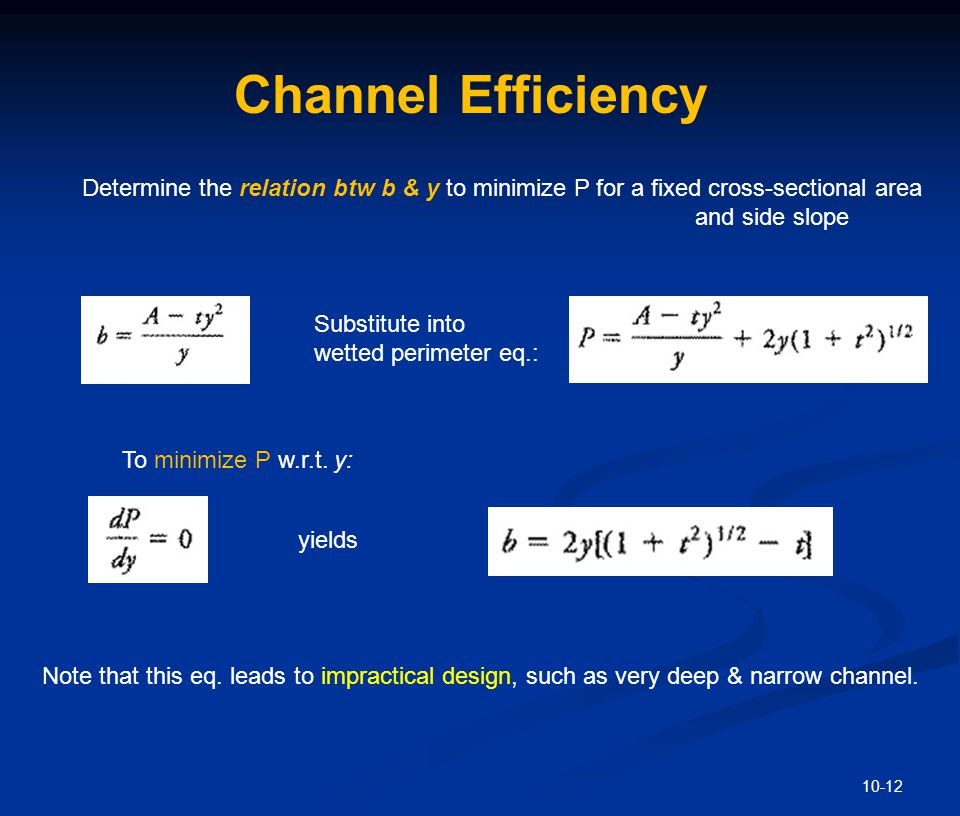 Channel Efficiency - Alternatively b equation can be written as: