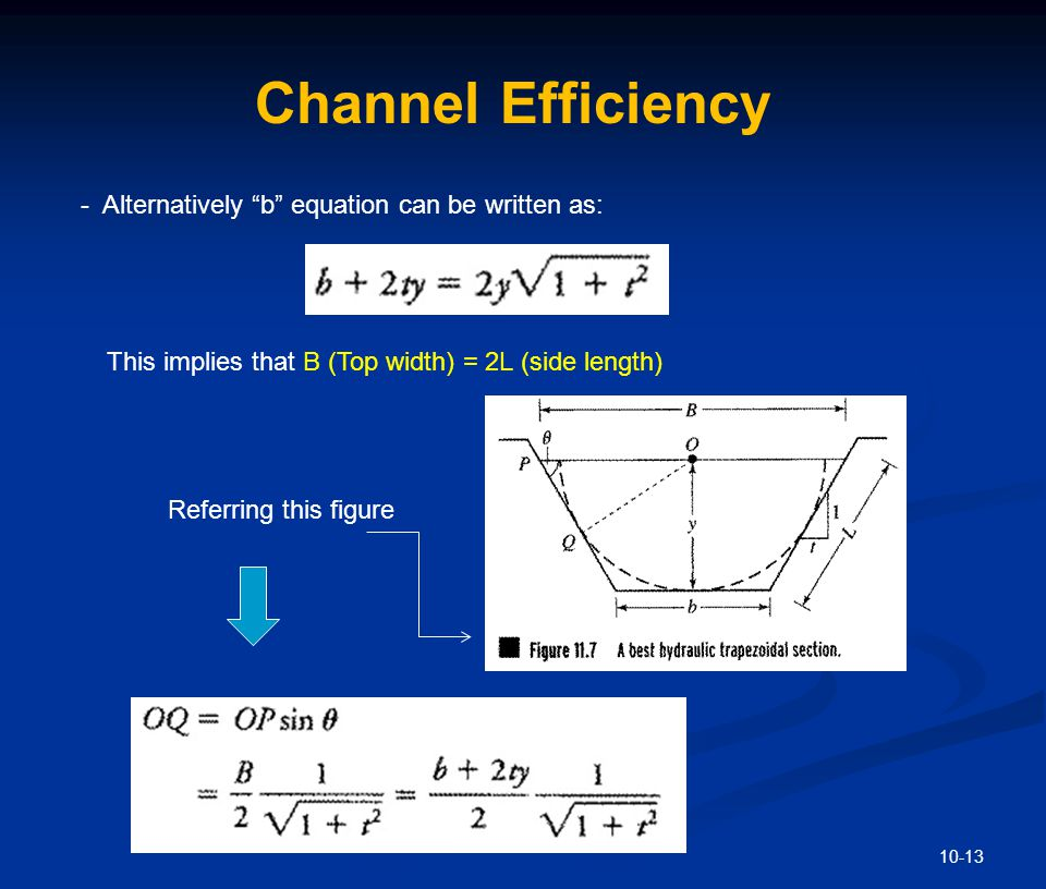 Channel Efficiency - Substitute the final form of 'b' equation into OQ relation: Moreover minimization w.r.t. 't of side slope yields.