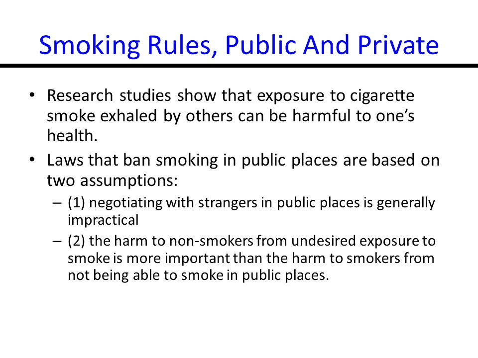 Smoking Rules, Public And Private