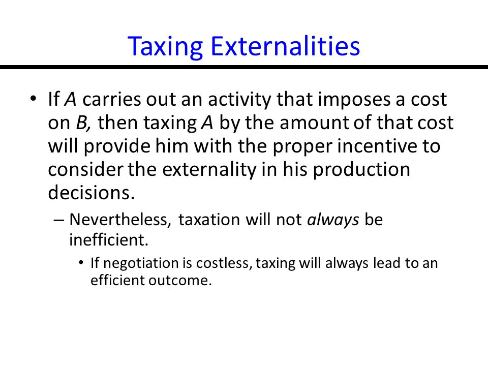 Taxing Externalities