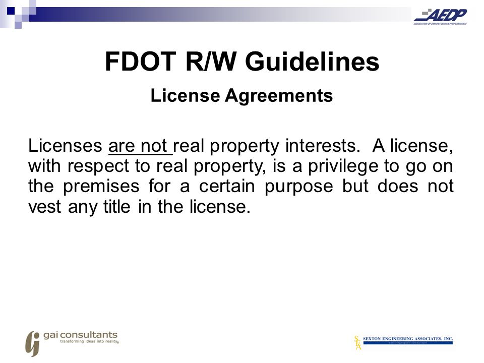 FDOT R/W Guidelines License Agreements