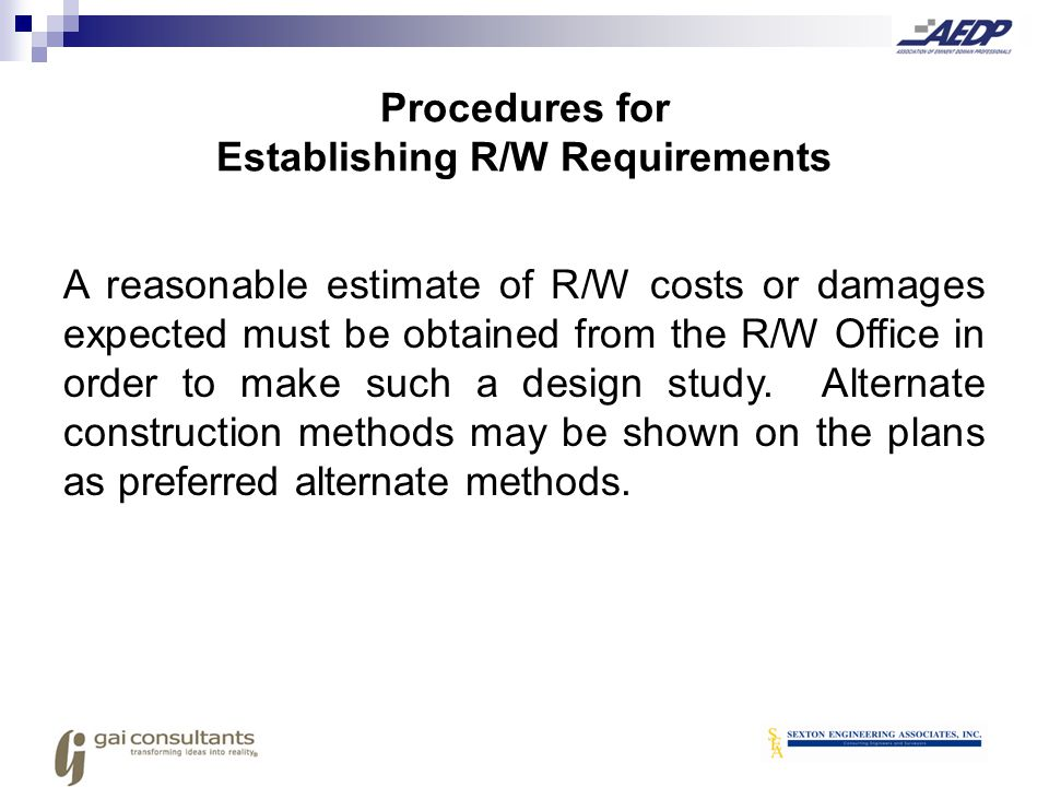 Procedures for Establishing R/W Requirements
