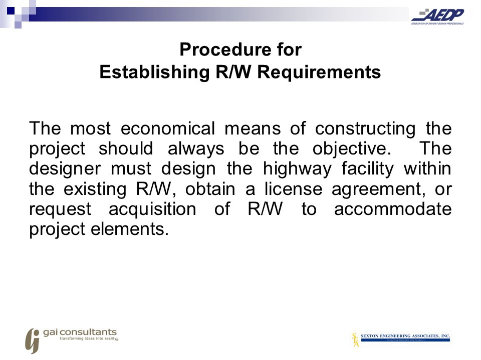 Procedure for Establishing R/W Requirements