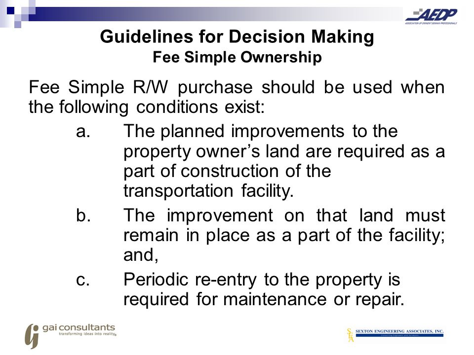 Guidelines for Decision Making Fee Simple Ownership