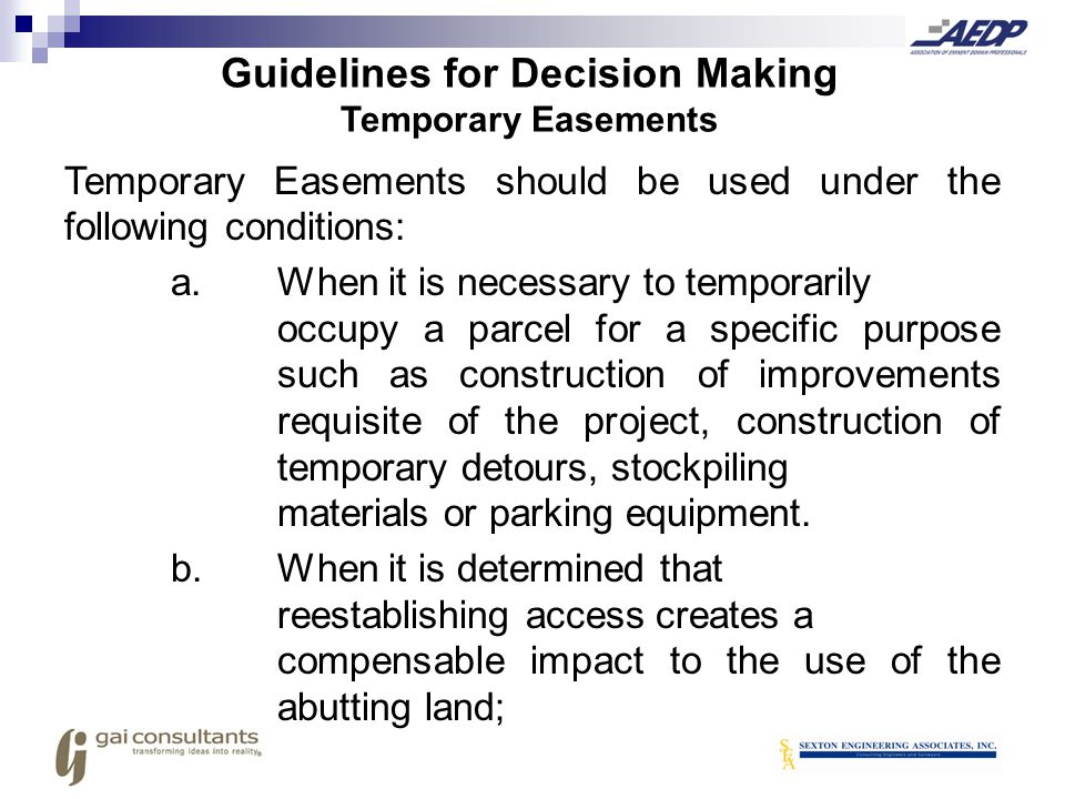 Guidelines for Decision Making Temporary Easements
