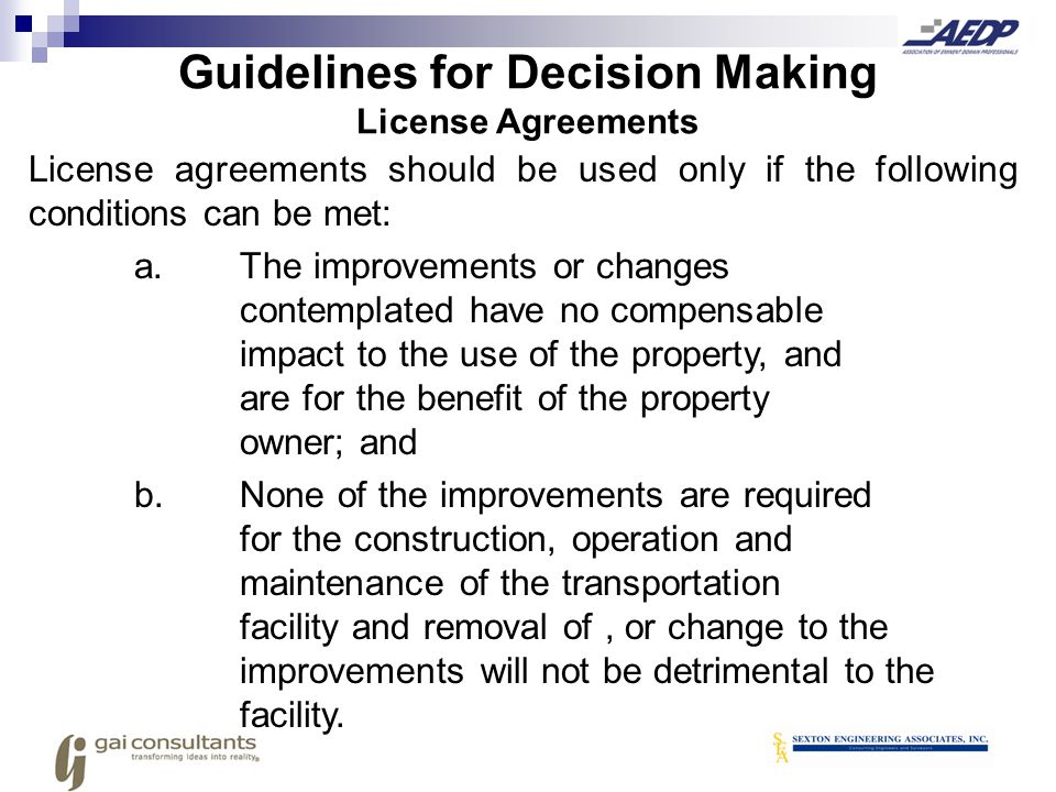 Guidelines for Decision Making License Agreements