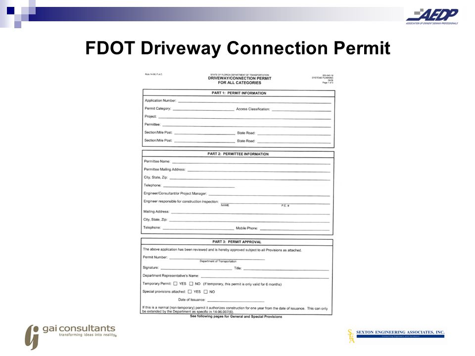 FDOT Driveway Connection Permit