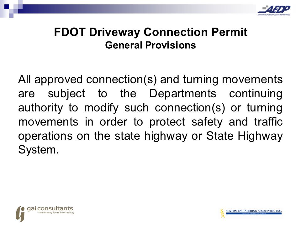 FDOT Driveway Connection Permit General Provisions