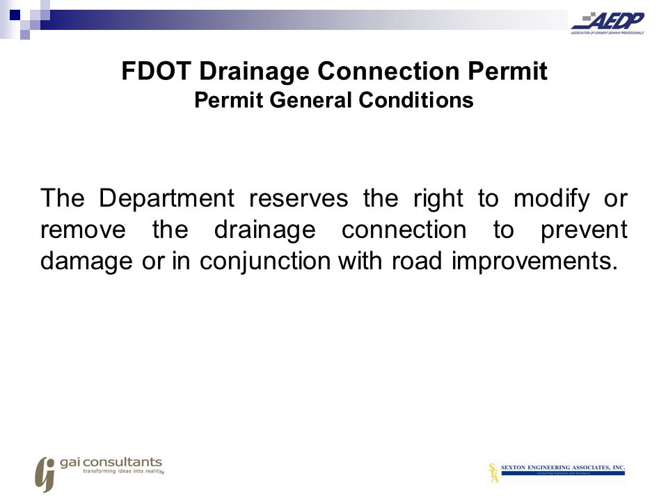FDOT Drainage Connection Permit Permit General Conditions
