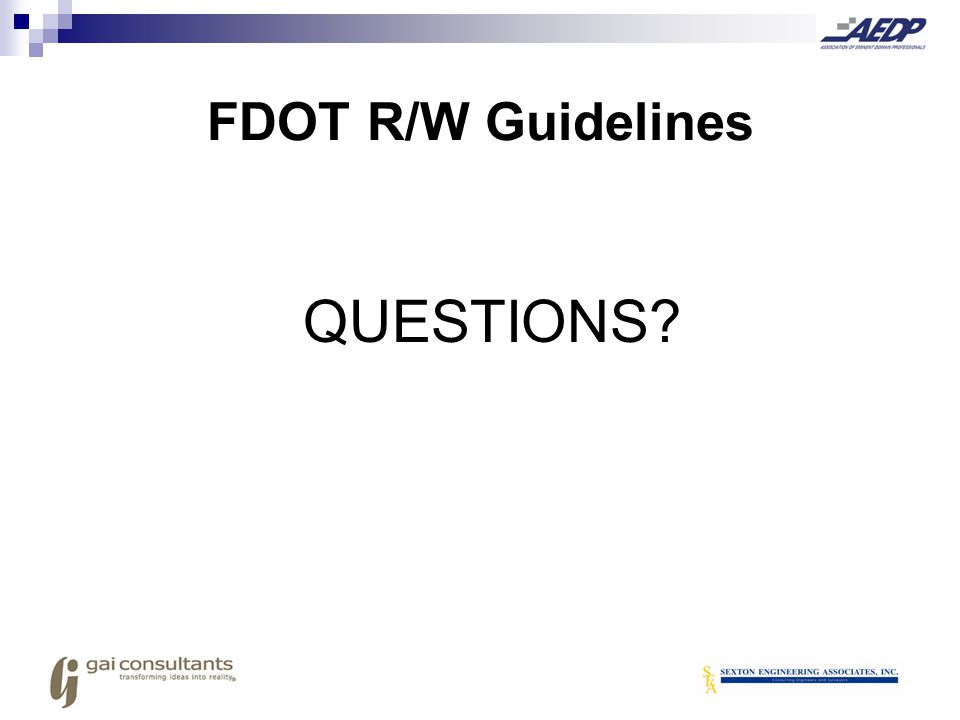 FDOT R/W Guidelines QUESTIONS