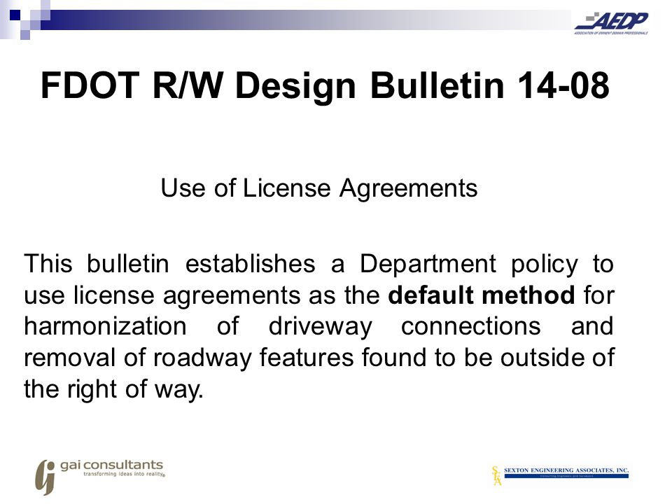 FDOT R/W Design Bulletin 14-08
