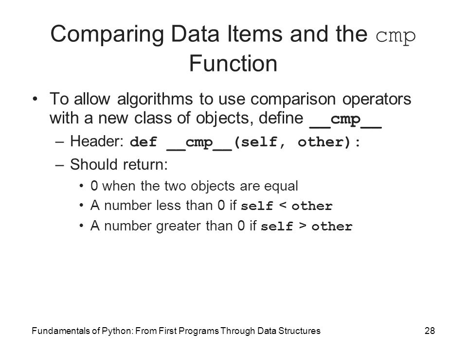 Comparing Data Items and the cmp Function