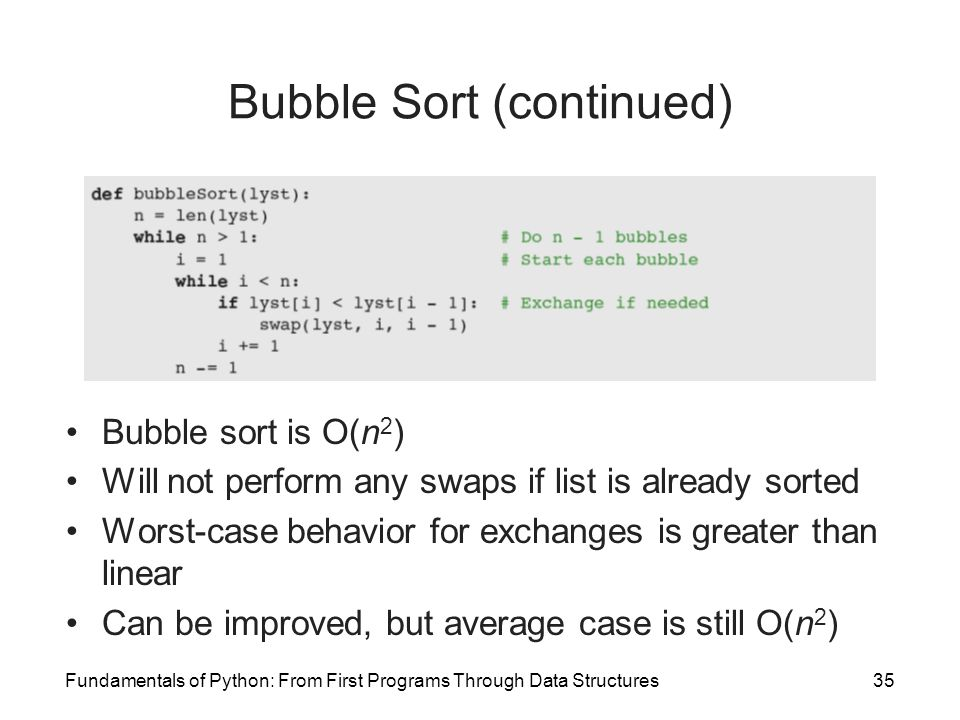Bubble Sort (continued)