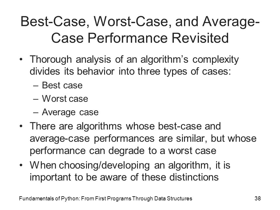 Best-Case, Worst-Case, and Average-Case Performance Revisited