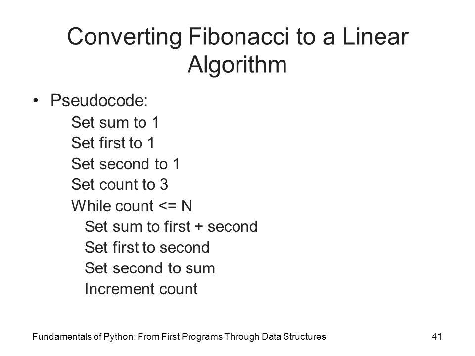 Converting Fibonacci to a Linear Algorithm